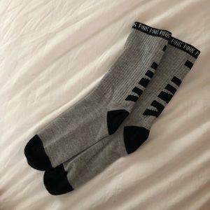 Grey PINK Calf Socks